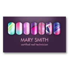 Shop Cool Nail Tech & Manicurist Business Card Template created by ArtbyMonica. Beauty Business Cards, Salon Business Cards, Letterpress Business Cards, Simple Business Cards, Business Card Design, Business Products, Nail Spa, Manicure And Pedicure, Ombre Nail Polish