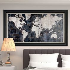 'Old World Map Blue' Framed Graphic Art on Wrapped Canvas at Wayfair - black framed canvas - no glass? - Overall: 26'' H x 46'' W x 1.5'' D Overall Product Weight: 3lb.