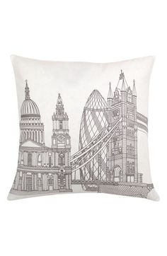 "Love the juxtaposition of old and new buildings on this pillow. Unique ""London"" decor piece."