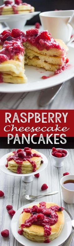 Read More About Raspberry Cheesecake Pancakes - Eazy Peazy Mealz Pancakes Easy, Breakfast Pancakes, Pancakes And Waffles, Potato Pancakes, Raspberry Recipes, Raspberry Cheesecake, Raspberry Pancakes, Brunch Recipes, Breakfast Recipes