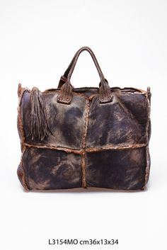 distressed brown leather satchel ...