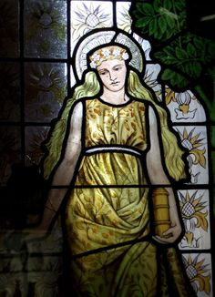 """Birmingham Museum Part of stained glass """"the Four Seasons - Summer"""" Designed by William Morris 1873"""