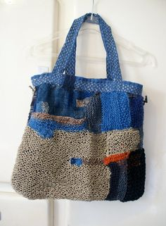 textured small tote bag in linen, wool, cotton and hemp, hand knitted, patched and mended sashiko/boro/boho Textiles, Small Tote Bags, Knit Basket, Patchwork Bags, Boro, Knitted Bags, Vintage Cotton, Blue Bags, Lana