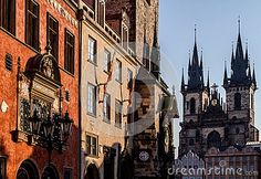 View old town square, town hall tower, Astronomical clock in Prague, Czech…