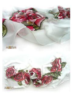 Hand Painted Silk Scarfpure silk shifonwhite by FilkinaScarves
