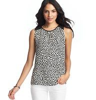 Animal Spot Print Colorblock Shell - Fiercely cute, we finished this spotted shell with colorblock detail at the shoulders – for graphic pop. Scoop neck. Sleeveless. Gathered beneath neckline. Keyhole detail at back neck with button closure. Rounded hem.