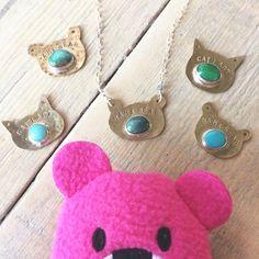 Mama Bear 🐻 and Cat Lady 🐱 turquoise + brass necklaces at blueandblueshop.etsy.com