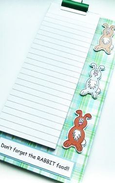Magnetic Grocery List Notepad  Rabbits  by CraftyMushroomCards