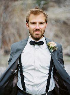 Groom - suspenders under jacket Groom And Groomsmen Style, Groomsmen Outfits, Groom Wear, Groom Outfit, Groom Attire, Groom Style, Groomsman Attire, Wedding Groom, Wedding Suits