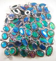Christmas Sale ! Wholesale Lot 500 Pcs Australian Opal 925 Silver Plated Pendant #Gajrajgems92_9 #Pendant