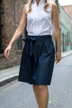 Eyelet Collared Shirt, Navy Tie Waist Skirt + Slide SandalsMEMORANDUM, formerly The Classy Cubicle
