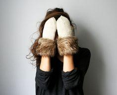 handmade white wool mittens with brown fur fringe