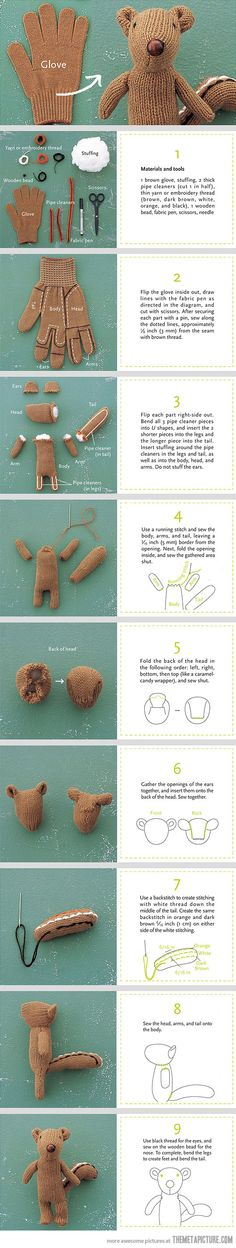 How to make a glove into a chipmunk