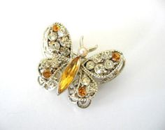 Bijoux vintage CORO - Coro strass papillon broche
