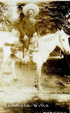 """Francisco """"Pancho"""" Villa Francisco """"Pancho"""" Villa was a general in the Mexican Revolution from 1911 until he commanded troops mos. Pancho Villa, Mexican Revolution, Mexican Men, Texas History, History Pics, South Of The Border, Rare Images, Cowboy Art, Grave Memorials"""