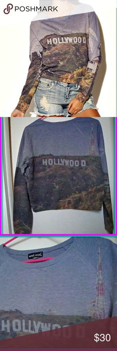 HOLLYWOOD SIGN LONG SLEEVE TOP ♡ *New without tags*  Excellent Condition  So sad to part with this amazing long sleeve top, but I am cleaning out my wardrobe and this gem has NEVER BEEN WORN !!  Size: Small   This Top is soft and looks warm, perfect for fall or winter...even brisk summer nights.  It's a rare print and definitely eye catching ♡     The colors can look darker in some lighting and lighter in natural light- I tried to photograph it the best I could.  It's ready to be shipped, as…