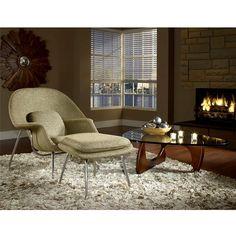 - W Fabric Lounge Chair in Oatmeal