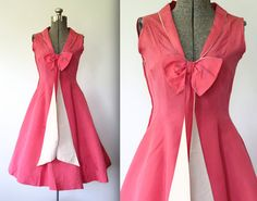 vintage 1950s pink silk party dress. Size S. Pink grosgrain silk cocktail dress with long bow front. Sweetheart neckline. 50s party dress on Etsy, $200.00
