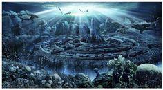 Atlantis Ciudad Sumergida Papel de fondo para acuarios - TiendAnimal