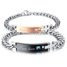 "His and Hers Lover Stainless Steel ""True Love"" Chain Couple Cuff Bangle Bracelet #Unbranded #Bangle"