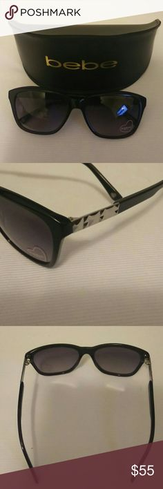 Bebe Women's Sunglasses Bebe Women's Sunglasses, black with silver temple accents. Includes hard case. New, never worn. bebe Accessories Sunglasses
