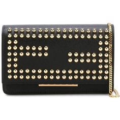 Fendi Studded Chain Wallet ($1,300) ❤ liked on Polyvore featuring bags, wallets, black, chain shoulder bag, leather chain wallet, genuine leather wallet, genuine leather bag and studded wallet