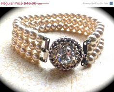 CIJ SALE Signed SAC Sarah Coventry 3 Strand Pearl Bracelet-Antique Art Deco Jewelry-Bridal Bracelet- Pearl Rhinestone Bracelet- Art Deco Gla - pinned by pin4etsy.com