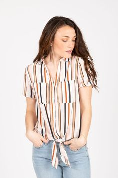 c569d49c713e79 The Brulee Striped Tie Front Blouse in Blush // The Brulee Striped Tie  Front Blouse. Piper & Scoot