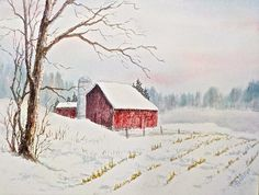 This scene is typical of the rural Wisconsin area where I live. On a late December day, with snow blanketing the ground, there is a feeling of peace and nostalgia in the air. Winter Art, Hush Hush, Pastels, Art Ideas, Watercolor, Wall Art, House Styles, Painting, Pen And Wash