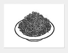 Holzdruck Poster Spaghetti Teller Kunstdruck Küche Küche | Etsy Printing Ink, Silk Screen Printing, Linocut Prints, Poster Prints, Art Prints, Cookbook Design, Kitchen Prints, Kitchen Art, Black And White