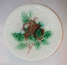 """Vintage 8"""" Majolica Plate Beautiful Raised Basket Weave Design on White Background Brown Center with White Dots White Flowers and Green Leaves Cream with Brown Mottling on Back"""