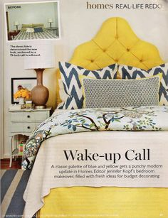 Perfect blue and yellow bedroom from southern living