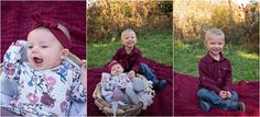 Photographer, photography, photos, family, baby girl, big brother, siblings, burgundy, outdoors, field, wildflowers, sunlight, headband, blue, jeans, boots, park, basket, driftwood