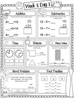 Language Arts & Math - Summer Fun Packet (2nd Grade) 2nd Grade Classroom, 1st Grade Math, Math Classroom, Grade 1, First Grade Themes, Math 2, Math Games, Fourth Grade, Classroom Organization