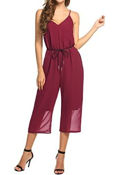 27d8253af6d Meaneor Womens V Neck Elegant Sleeveless Wide Leg Jumpsuits Romper Without  Belt Wine Red L  . Overalls Plus SizeStrapless ...