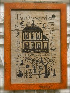 Witches in the Air ~ Notforgotten Farm© ~ designed by Lori Brechlin  Model stitched onto 30 count Old Farmhouse Linen from Notforgotten Farm