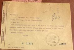 WESTERN UNION TELEGRAM FROM HOWARD HUGHES TO IRVING TRUST REGARDING RKO PICTURES #WesternUnion