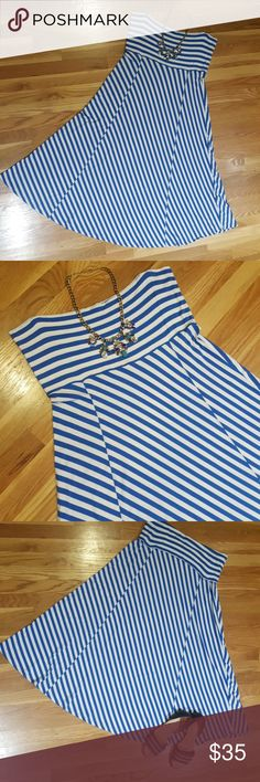 """GAP maxi skirt l, sz XL GAP convertable maxi skirt or strapless dress. Blue and white stripes.  Very soft material. Excellent condition only worn a couple times.  Measurements laying flat as dress: 18"""" bust & 43"""" length. Measurements as skirt: 18"""" waist & 38"""" length but can be rolled more or less at waist. GAP Skirts Maxi"""