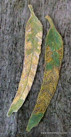 Freeform textile leaves created using machine free motion stitching with a…