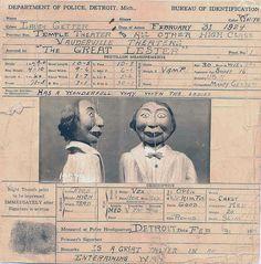 Mug shot for a ventriloquist's dummy Detroit Michigan 1924.