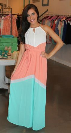 Dottie Couture Boutique - Coral & Mint Maxi $52