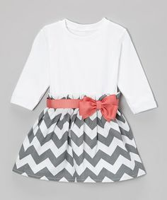 Take a look at this Coral & Gray Zigzag Dress - Infant & Toddler by Caught Ya Lookin' on #zulily today!