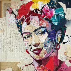 Items similar to Carme MAGEM – Frida Kahlo Portrait Collage Artwork, Large Metal Wall Art Licensed Print on Etsy Newspaper Collage, Paper Collage Art, Collage Art Mixed Media, Collage Artwork, Collage Drawing, Magazine Collage, Magazine Art, Collages, Frida Art