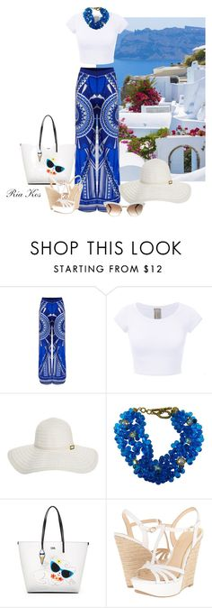 """""""greek summer"""" by ria-kos ❤ liked on Polyvore featuring Melissa Odabash, Claire Deve, Karl Lagerfeld, Jessica Simpson and Gucci"""
