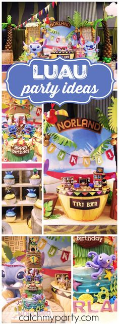 Love this hula birthday party featuring Lilo and Stitch! See more party ideas at CatchMyParty.com!