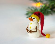 Cute snowman figurine Felted ornaments Snowman decor Christmas tree ornaments snowman Red yellow Unique gift Christmas party favors under 20
