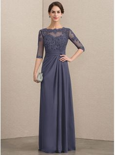A-Line Scoop Neck Floor-Length Chiffon Lace Mother of the Bride Dress With Beading Sequins Cascading Ruffles - JJ's House Formal Dresses With Sleeves, Mob Dresses, Event Dresses, Wedding Party Dresses, Mother Of The Bride Plus Size, Mother Of The Bride Dresses Long, Mother Of Bride Outfits, Vestidos Mob, Ruffle Beading