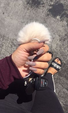 A manicure is a cosmetic elegance therapy for the finger nails and hands. A manicure could deal with just the hands, just the nails, or Cute Acrylic Nails, Matte Nails, Acrylic Nail Designs, Coffin Acrylic Nails Long, Beige Nails, Dark Nude Nails, Burgundy Acrylic Nails, Black Manicure, Neutral Nails