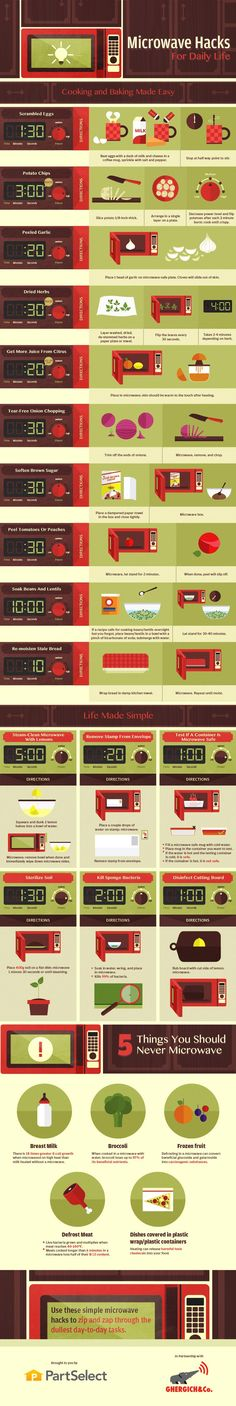 Microwave Hacks for Daily Life on Plating Pixels. Kitchen and cooking tips. Speed up for cooking prep and make cooking easier with this microwave hacks inforgraphic. - www.platingpixels.com