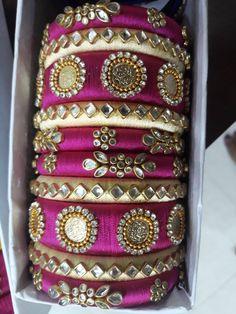 Kundan Bangles, Silk Bangles, Silk Thread Bangles Design, Thread Jewellery, Diy Earrings Tutorial, Jewelry Crafts, Handmade Jewelry, Bridal Chura, Kutch Work